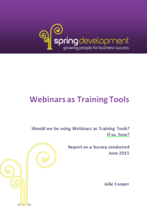 Webinars as Training Tools cover